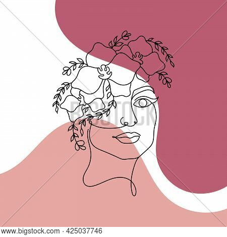 Face Painting. Contemporary Portrait. Continuous Line Drawing Faces Abstract Face One Line Drawing.