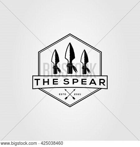 Three Sharp Spear Logo. Arrowhead, Spearhead, Hunting Logo Vector Illustration Design