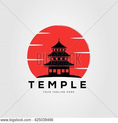 Sunset Silhouette Pagoda Temple Logo Vector Illustration Design