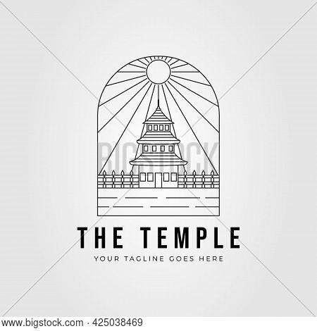 Pagoda Temple Line Art Logo. Buddhist Architecture Tower Logo Vector Illustration Design
