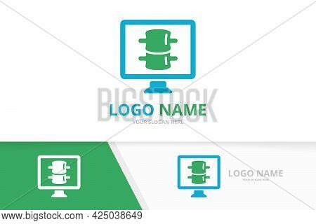 Vector Spine And Computer Logo Combination. Vertebral Column And Monitor Logotype Design Template.
