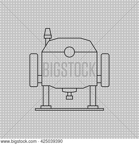 Electric Wood Plunge Router. Power Tool. Vector Transparent Linear Outline Drawing.