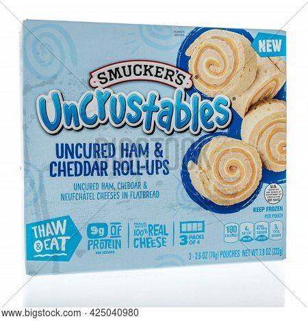 Winneconne, Wi - 27 June 2021:  A Package Of Smuckers Uncrustables Uncured Ham And Cheddar Roll Ups