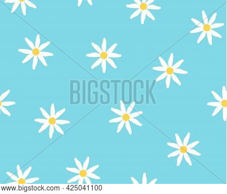 Abstract Seamless Pattern. Limitless Art White Chamomile On Blue Background, Doodle Hand Drawn Repea