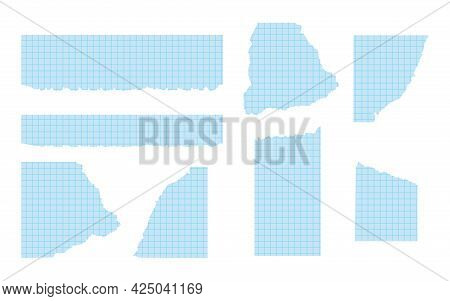 Set Of Pieces Of Torn Blue Graph Paper Of Various Shapes. Ripped Paper Templates With Frayed Edge. C