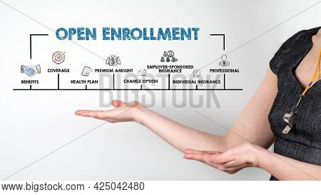 Open Enrollment Concept. Chart With Keywords And Icons. Horizontal Web Banner. Woman With Whistle