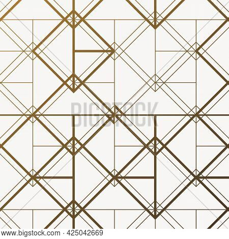 Abstract Geometry In Diamond And Squares Shape In Different Size Of Line. Seamless Vector Background