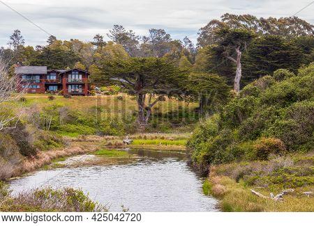 Fort Bragg, California - June 12, 2021: Scenic Foggy Coastal Landscape In Residential Area, Fort Bra