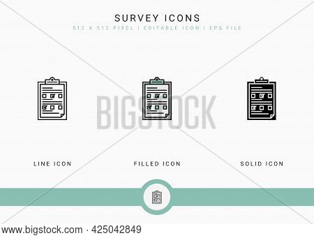 Survey Icons Set Vector Illustration With Solid Icon Line Style. Customer Satisfaction Check Concept