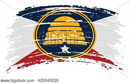 Commemorative Flag Of Utah In Real Proportions And Colors, Vector