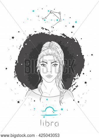 Libra Zodiac Sign And Constellation. Vector Illustration With A Beautiful Horoscope Symbol Girl On G