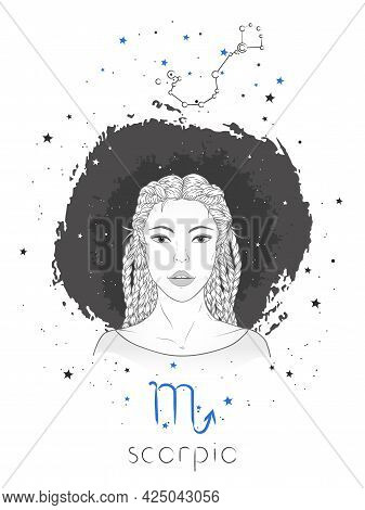 Scorpio Zodiac Sign And Constellation. Vector Illustration With A Beautiful Horoscope Symbol Girl On