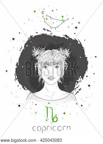 Capricorn Zodiac Sign And Onstellation. Vector Illustration With A Beautiful Horoscope Symbol Girl O