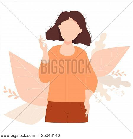 Beautiful Brunette Girl With A Hairstyle With A Raised Hand Counts On The Fingers. Vector Illustrati