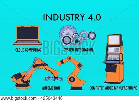 Illustrations With Technology Items And The Words Industry 4.0. Industry 4.0 Infographic