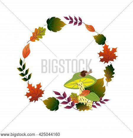 Round Frame Made Of Autumn Leaves. Autumn Illustration With Mushrooms And Snail. Vector Drawing On A