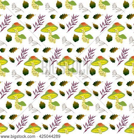 Pattern With Mushrooms, Leaves And Meadow Herbs. Vector Illustration Isolated On White Background. F
