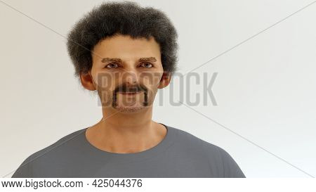 Ugly Man Homeless Drug Addict Exhausted Alcoholic Junkie Poor Old Guy 3d Illustration