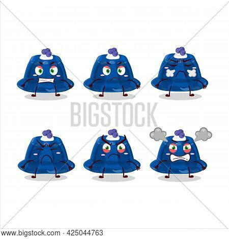 Blueberry Pudding Cartoon Character With Various Angry Expressions