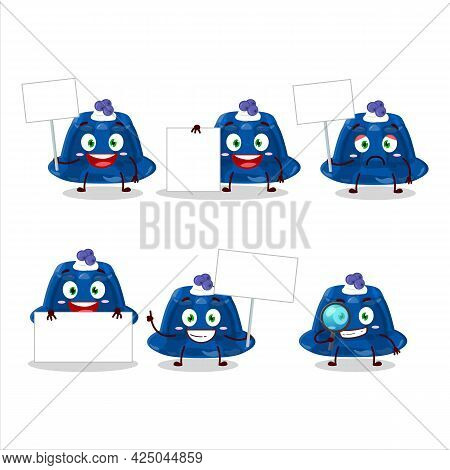 Blueberry Pudding Cartoon Character Bring Information Board