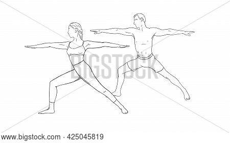 Yoga Warrior Asana Or Virabhadrasana I. Woman And Man Couple Practicing Yoga Asana. Hand Drawn Vecto