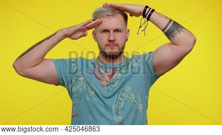 Yes Sir. Subordinate Responsible Serious Stylish Guy Giving Salute Listening To Order As If Soldier,