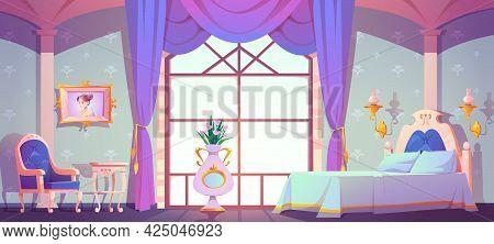 Princess Bedroom Interior, Empty Vintage Room With Elegant Retro Furniture, Bed, Cupboard, Floral Pa