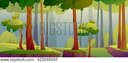 Cartoon Forest Background, Nature Landscape With Deciduous Trees, Green Grass, Trunks Silhouettes An