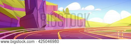 Overpass, Highway, Empty Road At Mountains Summer Landscape, Modern Infrastructure With Metal Railin