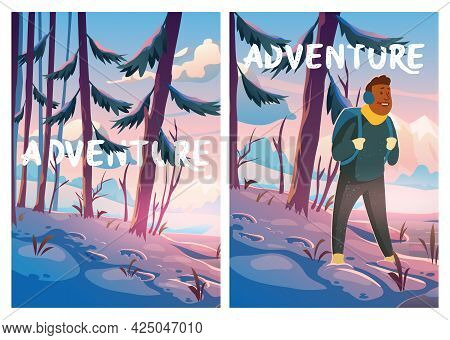 Adventure, Travel Journey Cartoon Poster, Traveler At Winter Forest With Mountains View. Tourist Wit
