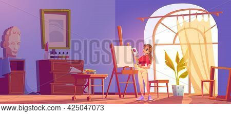 Art School Cartoon Illustration. Artist Girl At Easel Paint Flower. Painter Young Woman In Teenage C