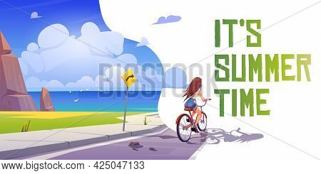 Its Summer Time Cartoon Banner. Girl On Bicycle Riding Mountain Road At Seascape View. Young Woman B