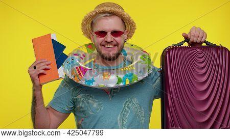 Traveler Tourist Bearded Adult Man Celebrating, Holding Passport, Tickets, Luggage. Concept Summer V