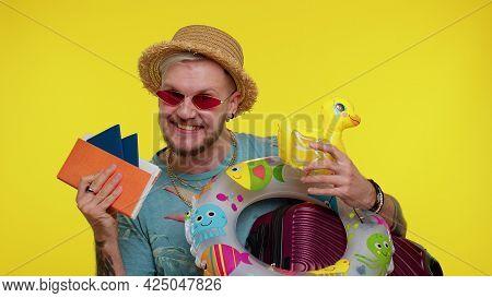 Stylish Bearded Traveler Tourist Man Celebrating, Dancing Holding Passport, Tickets, Luggage. Summer