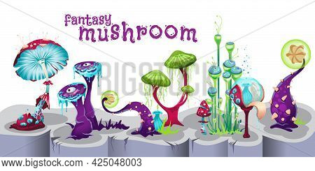 Background With Fantasy Mushroom Forest, Cartoon Vector Illustration Isolated.