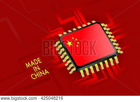 Illustration Of A Microchip Made In China With The Chinese Flag