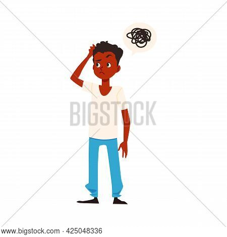 Thinking Confused African American Boy Flat Vector Illustration Isolated.