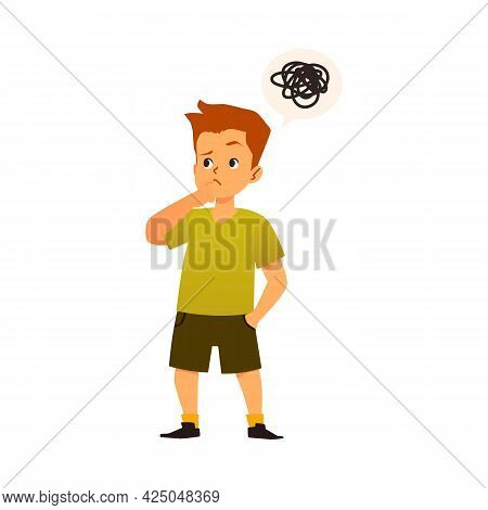 Puzzled Kid Boy Tries Solve Problem A Flat Cartoon Vector Isolated Illustration.