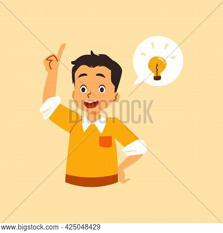Happy Boy Has Brilliant Solution And Idea, Flat Vector Illustration Isolated.
