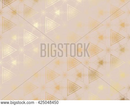 Abstract Light Pink Peach And Gold Textured Pattern With Kaleidoscope Effect. Symmetric Geometric Ve