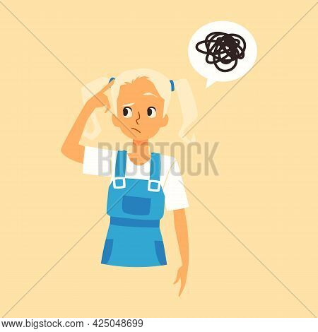 Puzzled Kid Girl With Confusion Think Tries Solve Problem A Vector Illustration.