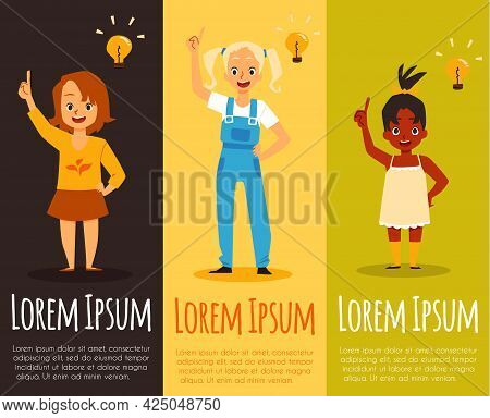 Vertical Banners With Pensive Girls Having Solutions, Flat Vector Illustration.