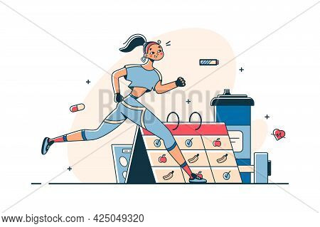 Woman Do Sports According To Schedule Vector Illustration. Getting Physical Strength Flat Style. Act
