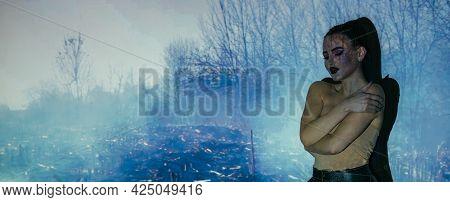 Depressed Woman. Silhouette Portrait. Loneliness Heartbroken. Lost Hope. Sad Woman Embracing Herself