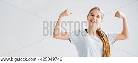 Active Children. Sport Banner. Fitness Training. Morning Exercise. Happy Smiling Strong Athletic Gir