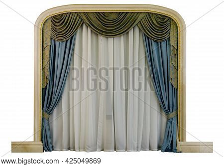 Classic Draped Layered Luxury Curtains In A Niche Isolated.
