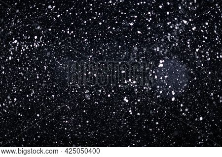 Real Falling Snow On Black Background For Blending Modes In Ps. Ver 03 - Many Snowflakes In Blur.