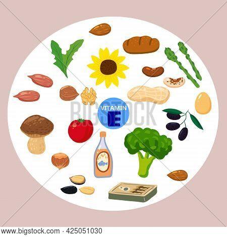 Set Of Vitamin K Origin Natural Sources. Healthy Diary Food, Green Vegetables, Berries, Fish, Mushro