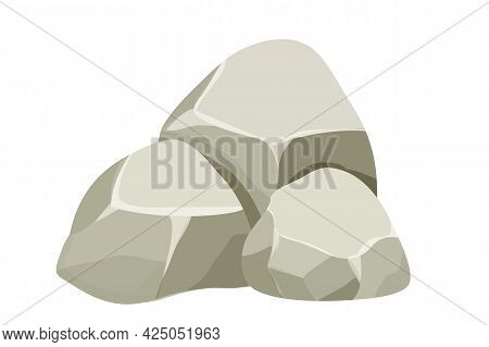 Stone, Rock Pile Isolated On White Background. Big Boulder Element, Granite Block For Ui Games, Deco