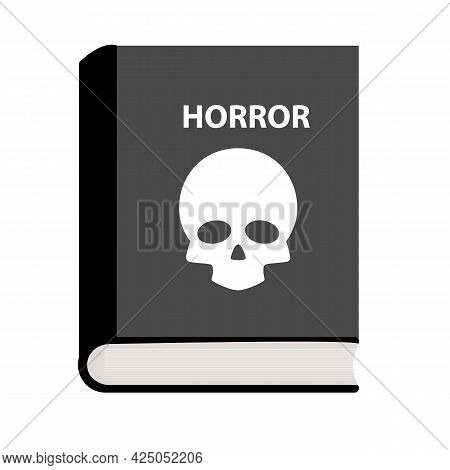 Horror Book Icon On White Background. Skull Sign Horror Book. Flat Style.